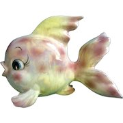 Norcrest Mid-Century Fish Wall Pocket Planter Iridescent Yellow and Pink Made in Japan Figurine