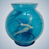 Antique Blue Glass Vase Bird White Raised Enamel Overlay Hand Painted Globe