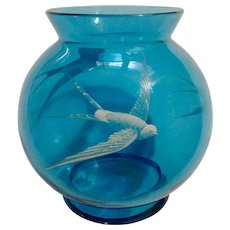 White Raised Enamel Overlay Tropicbirds Hand Painted on Vintage Blue Glass Vase Globe