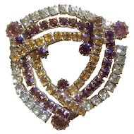 Vintage Pretty Rhinestone Brooch Pin 1960's - 1970's