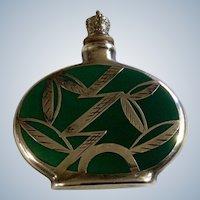 Vintage Perfume Bottle Germany Silver Overlay Green Porcelain Sterling Crown Top Leaf Design 1920s -1940s
