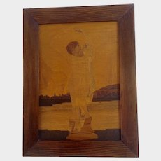 Inlaid Wood Marquetry Picture Woman Statue Bathing Signed by Artist