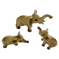 Vintage Miniature Fine Bone China Ceramic Elephant Family Animal Figurines Numbered 80547