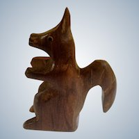 Vintage German Squirrel Figurine 1970's Wood Carved Sculpture