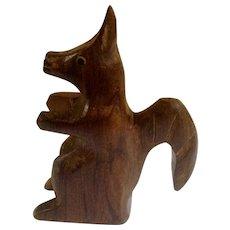 Vintage German Squirrel Figurine 1970's Wood Carved Sculpture