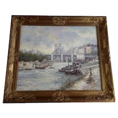 Anthony, Fishing in the City Harbor, Impressionistic Cityscape Oil Painting on Canvas Signed by Artist