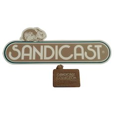 1985 Sandicast, Signed, Sandra Brue Small Sign and Large Plastic Strip Sign The Sandicast Collection with Bunny