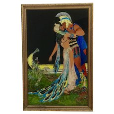 Vintage Cleopatra and Mark Antony Foil Tinsel Reverse Glass Painting