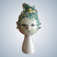 "Bjorn Wiinblad Titania Head Vase Figural Denmark Own Studio 7-1/2"" Vase OOAK One of a Kind 1963 Rare Headvase"