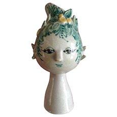 """Bjorn Wiinblad Titania Head Vase Figural Denmark Own Studio 7-1/2"""" Vase OOAK One of a Kind 1963 Rare Headvase"""