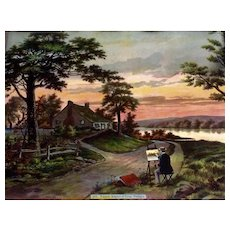 Chromolithograph Wakefield Birthplace of George Washington, Popes Creek Lithograph Print Enhanced with Antique Glitter