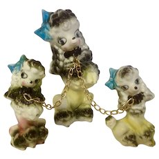 Vintage Mid-Century Poodle Chain Dogs Brinnco Made in Japan Ceramic Figurines