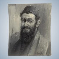Frank F Falk, Portrait Oil Painting of A Bearded Man Signed By Listed Denver Colorado Artist