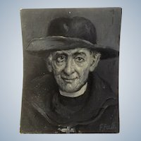 Frank F Falk, Portrait Oil Painting of A Paster in a Hat Signed By Listed Denver Colorado Artist