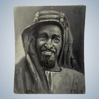 Frank F Falk, Portrait Oil Painting of A Man with Turban Signed By Listed Denver Colorado Artist