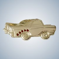 1950's Chevy Car Hot Rod Pin Costume Jewelry with Red Rhinestones Made 1980's
