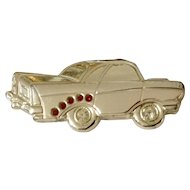 1950's Chevy Car Costume Jewelry Pin With Red Rhinestones Made 1980's