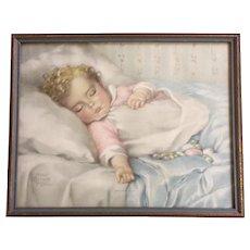 Annie Benson Muller, Just A Little Dream, Baby Sleeping Lithograph Print 1930's