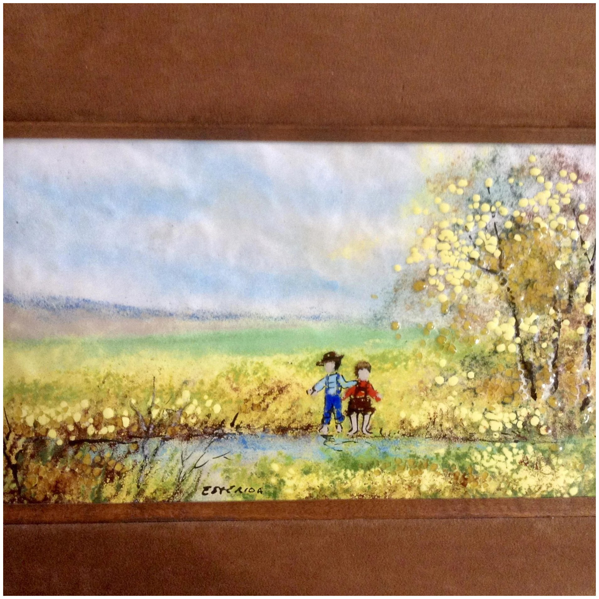 Esterida, Enamel Painting on Copper Metal Plate, Two Children ...