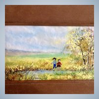 Raphael Esterida, Enamel Painting on Copper Metal Plate, Two Children Playing at Creekside, Signed by Artist