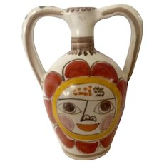 Mid-Century Giovanni Desimone,  Original Sun Face Italy, Art Pottery, Majolica, Two Handle Pitcher Jug Made for Joseph Magnin