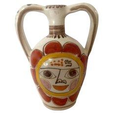 Mid-Century Giovanni Desimone,  Original Sun Face Italy, Art Pottery, Majolica, Two Handle Pitcher Jug Made for Joseph Magnin