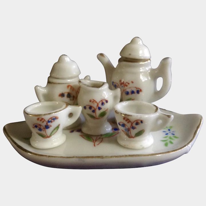 Vintage Occupied Japan Pico Miniature Tea Set Toy with Tray Teapot for  Dollhouse