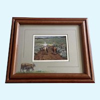 Kaye York, 1993 Oil Pastel Cows with Giclee Print in Center