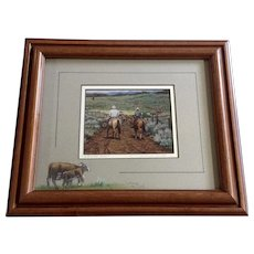 Kaye York, 1993 Oil Pastel Cows on Mat with Color Giclee Print in Center Titled, Strung Out Signed By Artist