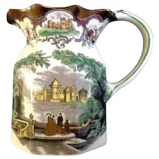 Rare Vintage Masons LEEDS Copper Luster Trimmed Octagonal Ironstone Transferware Small Jug Pitcher 1930's-1940's