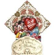 Vintage German Valentine's Day Card Die Cut Pierced Embossed Gold Folding Honeycomb 3D Heavy Paper