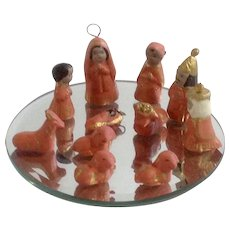 Mexican Folk Art Pottery Clay Christmas Nativity Creche Jesus Birth with Wise Men and Animal Figurines Set