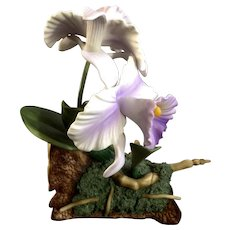 Rare Vintage Andrea by Sadek Purple Cattleya Orchid Flowers 9735 Porcelain Figurine Discontinued