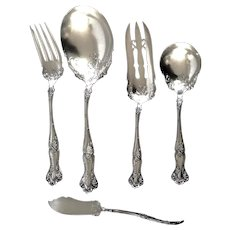 Antique Silverplate 1904 by International Silver 1847 Rogers, Grapes Solid Smooth, Casserole & Sugar Spoons,Master Butter Knife, Med. Solid Cold Meat Serving & Cake Serving Forks