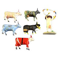 6 Cows On Parade Figurines Santa, Peace, Moonet, Oz utterly Witched, Kisses and Circus Clown Discontinued Retired CowParade