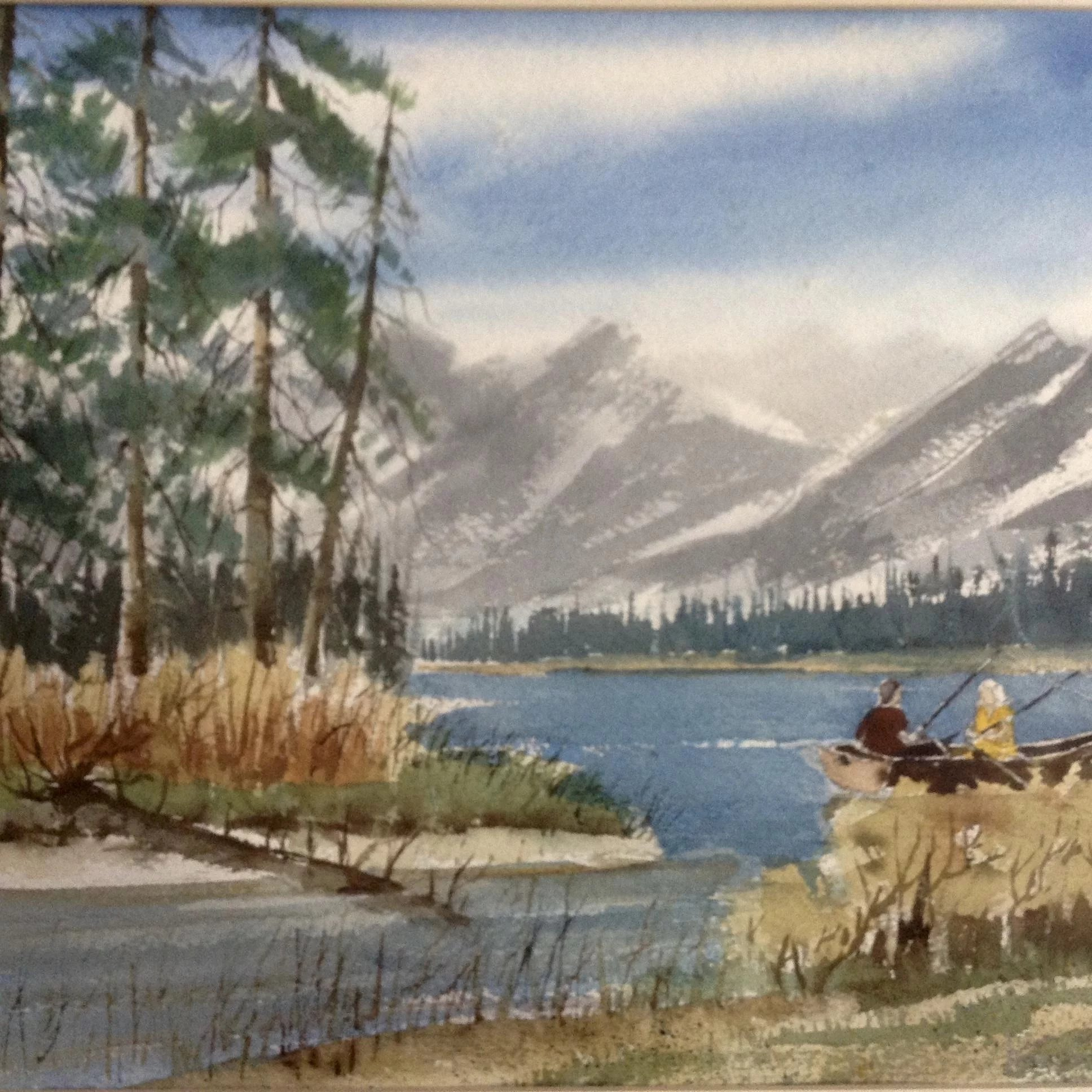 Fishing Couple In A Row Boat On A Mountain Lake Watercolor