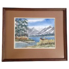 Fishing Couple in a Row Boat on a Mountain Lake Watercolor Painting Works on Paper Signed by Artist