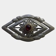 Vintage Brooch Eye with Red Rhinestone Center Creation Pewter Pot Metal Pin