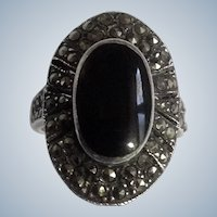 Sterling Black Onyx Marcasite Women's Mourning Ring Size 6.5 Silver 925