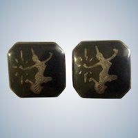 Vintage Siam Cufflinks Nielloware Sterling Silver Thai Dancers Made in Siam, Thailand