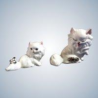 Josef Originals White Cat Figurines Miniatures Rare Ceramic Vintage Japan