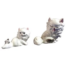 Rare Vintage Josef Originals Miniature White Cats Ceramic Japan Figurine