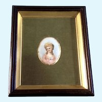 Miniature Victorian Lady Portrait Painting on Porcelain Elegant Woman