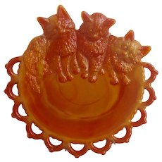 "Vintage Westmoreland Glass Co. Orange and Red Slag Kitten Milk Glass 8"" Scary Cat Plate With Holder"