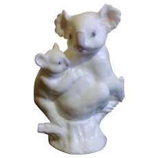Noritake Koala Bear Figurine Bone China Animal Mother and Baby in a Tree Stump Studio Collection Japan Hard to Find