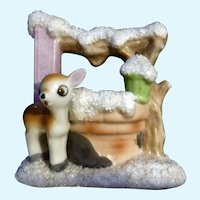 Mid-Century Deer Fawn Planter Vase Figurine Made in Japan