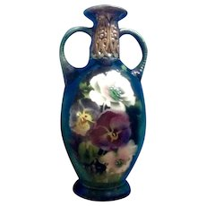 Vintage Cechoslovakia Vase Hand Painted Embossed Floral Motif 2 Handle Czechoslovakia Pottery