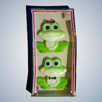 Vintage Frogs Chalkware Wall Plaques 1977 Miller Studios Hand Painted Anthropomorphic in Original Box