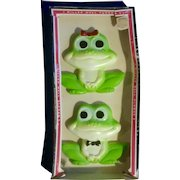 Vintage 1977 Miller Studios Frogs Chalkware Wall Plaques Hand Painted Anthropomorphic in Original Box
