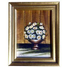 Norina Reeves, Miniature Oil Painting of a Bouquet of White Flowers Signed by Artist